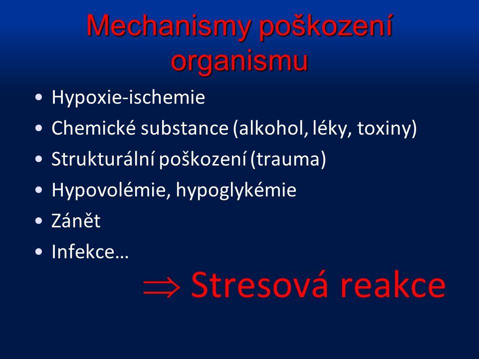 Mechanismy poškození organismu Hypoxie-ischemie Chemické substance (alkohol, léky, toxiny) Strukturální poškození (trauma) Hypovolémie, hypoglykémie Z