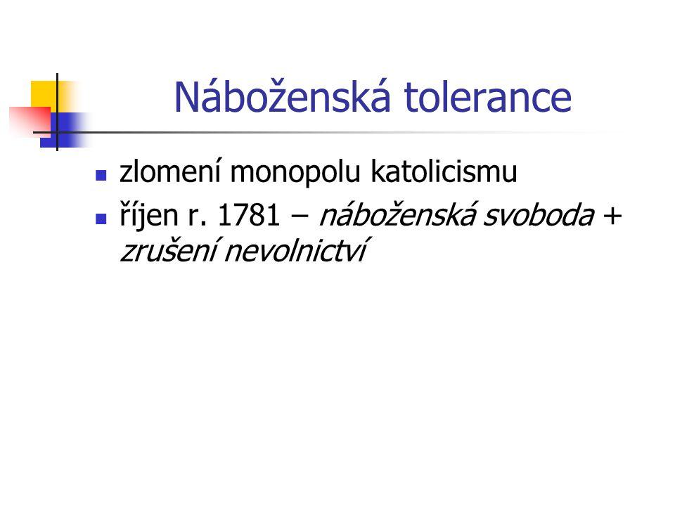 Náboženská tolerance zlomení monopolu katolicismu říjen r. 1781 – náboženská svoboda + zrušení nevolnictví