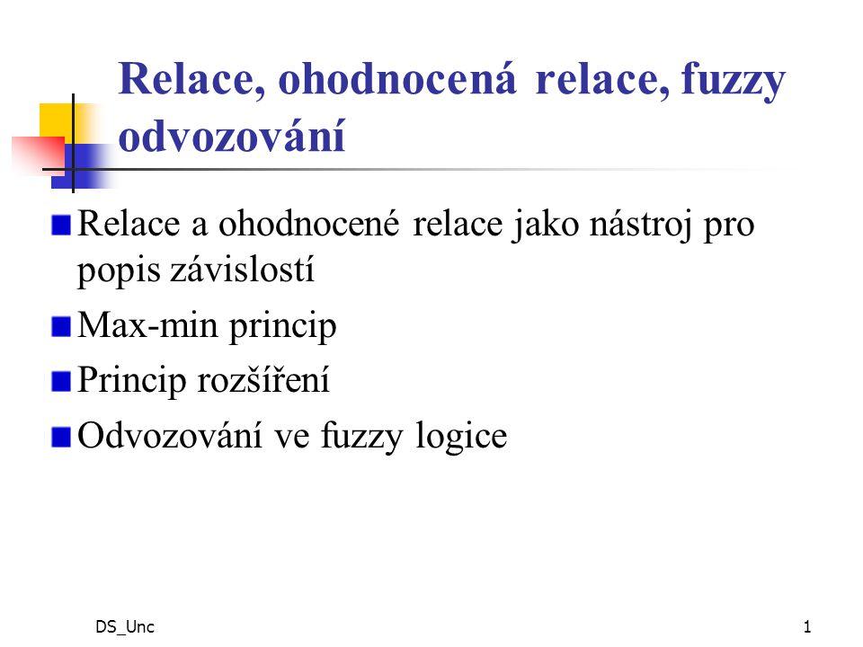 DS_Unc1 Relace, ohodnocená relace, fuzzy odvozování Relace a ohodnocené relace jako nástroj pro popis závislostí Max-min princip Princip rozšíření Odvozování ve fuzzy logice