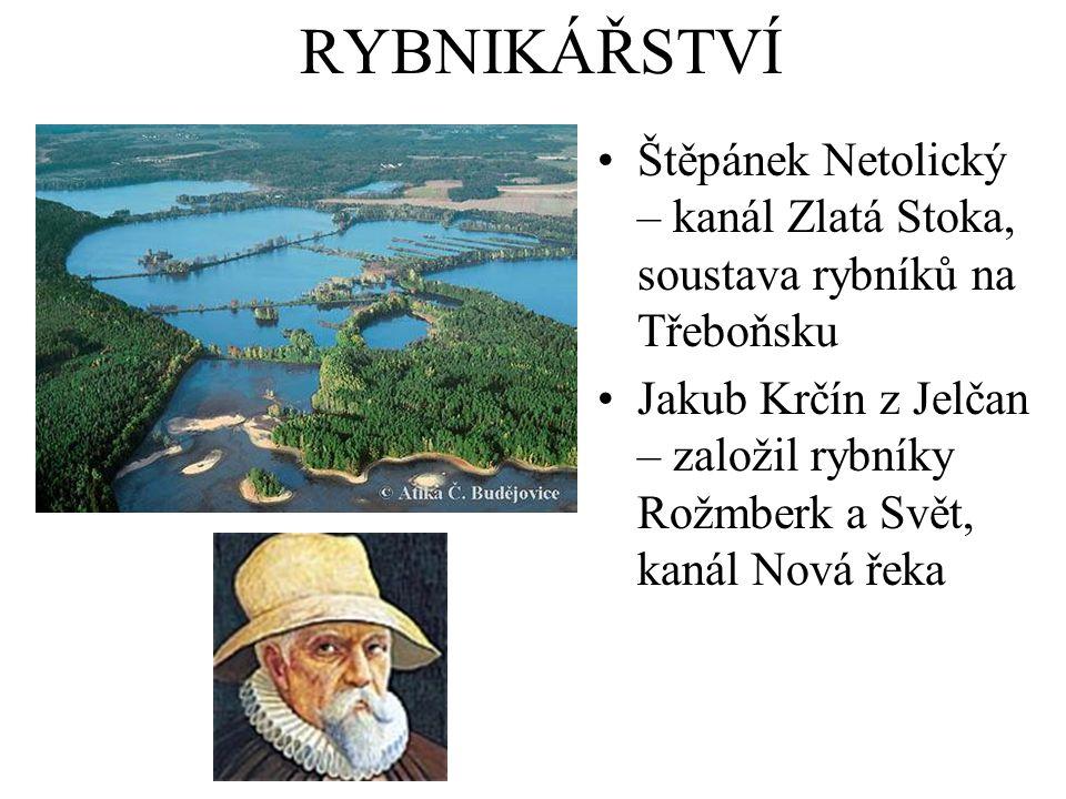 RYBNIKÁŘSTVÍ Štěpánek Netolický – kanál Zlatá Stoka, soustava rybníků na Třeboňsku Jakub Krčín z Jelčan – založil rybníky Rožmberk a Svět, kanál Nová