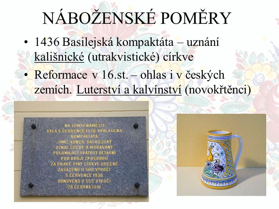 NÁBOŽENSKÉ POMĚRY 1436 Basilejská kompaktáta – uznání kališnické (utrakvistické) církve Reformace v 16.st. – ohlas i v českých zemích. Luterství a kal
