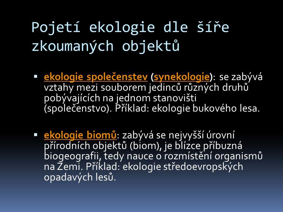 Pojetí ekologie dle šíře zkoumaných objektů  ekologie společenstev (synekologie): se zabývá vztahy mezi souborem jedinců různých druhů pobývajících n