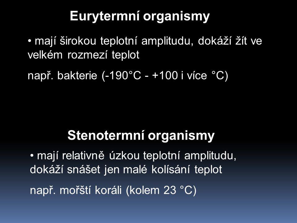 Eurytermní organismy Stenotermní organismy mají širokou teplotní amplitudu, dokáží žít ve velkém rozmezí teplot např. bakterie (-190°C - +100 i více °