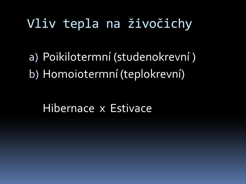 Vliv tepla na živočichy a) Poikilotermní (studenokrevní ) b) Homoiotermní (teplokrevní) Hibernace x Estivace