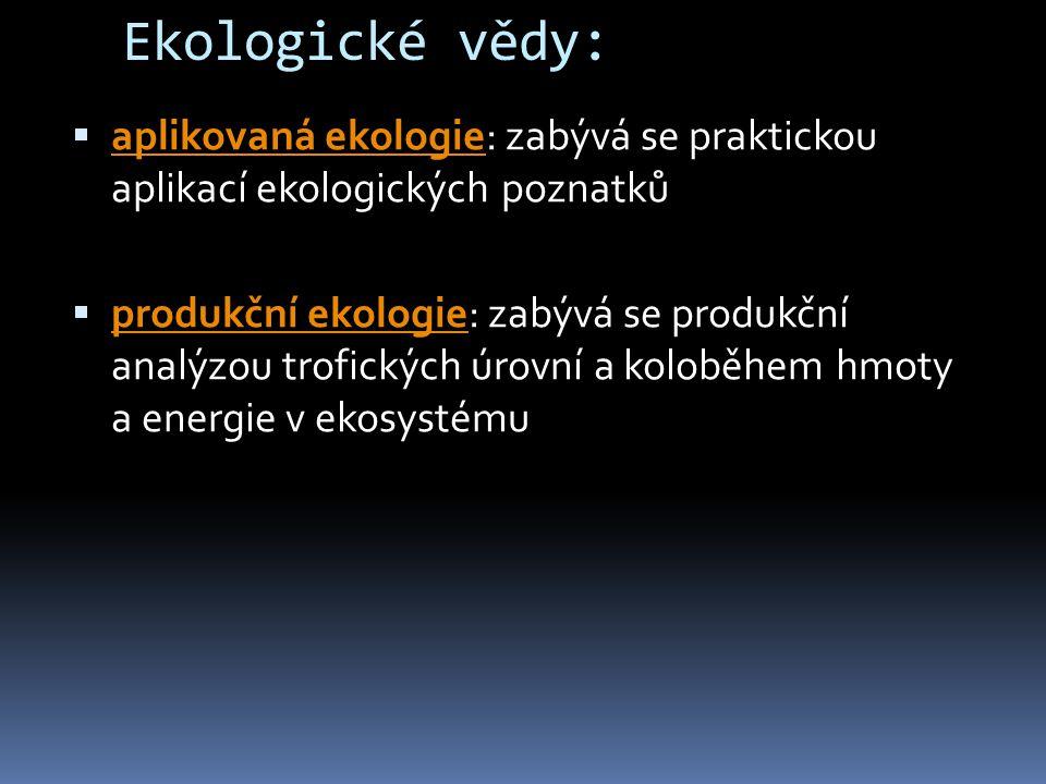 Ekologické vědy:  aplikovaná ekologie: zabývá se praktickou aplikací ekologických poznatků aplikovaná ekologie  produkční ekologie: zabývá se produk