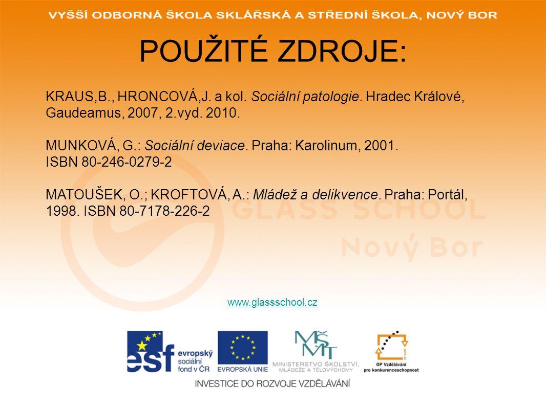 POUŽITÉ ZDROJE: www.glassschool.cz KRAUS,B., HRONCOVÁ,J. a kol. Sociální patologie. Hradec Králové, Gaudeamus, 2007, 2.vyd. 2010. MUNKOVÁ, G.: Sociáln