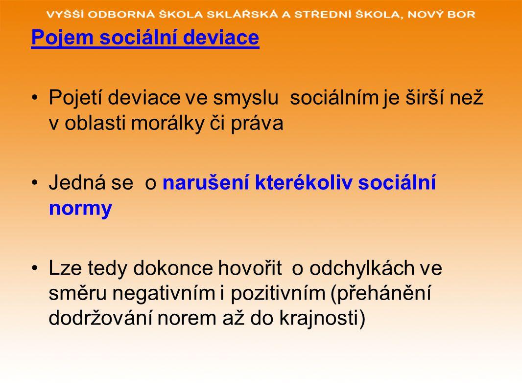 Pojem sociální deviace Pojetí deviace ve smyslu sociálním je širší než v oblasti morálky či práva Jedná se o narušení kterékoliv sociální normy Lze te