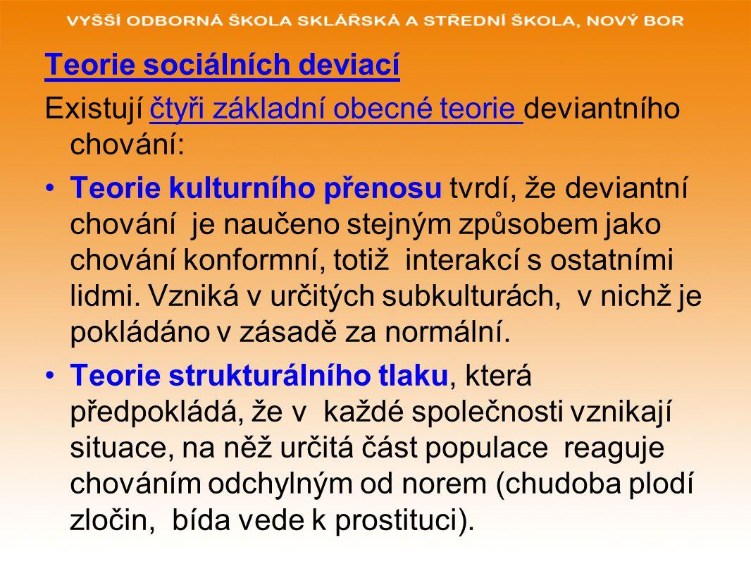 Teorie sociálních deviací Existují čtyři základní obecné teorie deviantního chování: Teorie kulturního přenosu tvrdí, že deviantní chování je naučeno