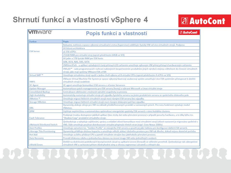 Shrnutí funkcí a vlastností vSphere 4