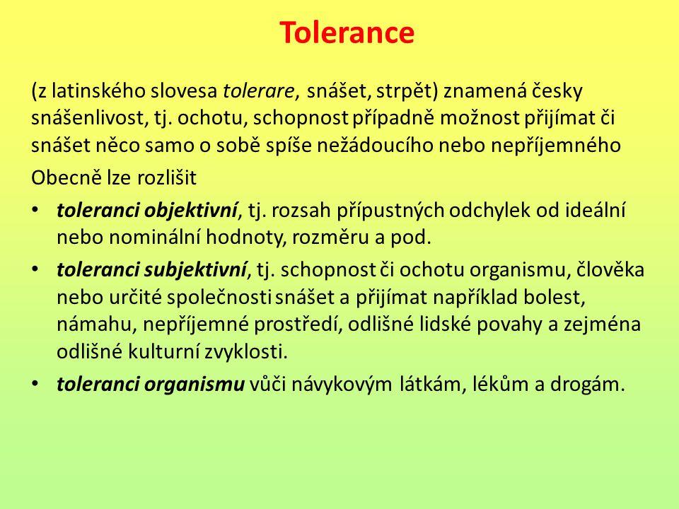 Tolerance (z latinského slovesa tolerare, snášet, strpět) znamená česky snášenlivost, tj. ochotu, schopnost případně možnost přijímat či snášet něco s