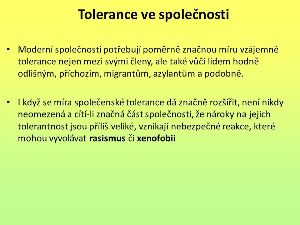 Tolerance ve společnosti Moderní společnosti potřebují poměrně značnou míru vzájemné tolerance nejen mezi svými členy, ale také vůči lidem hodně odliš