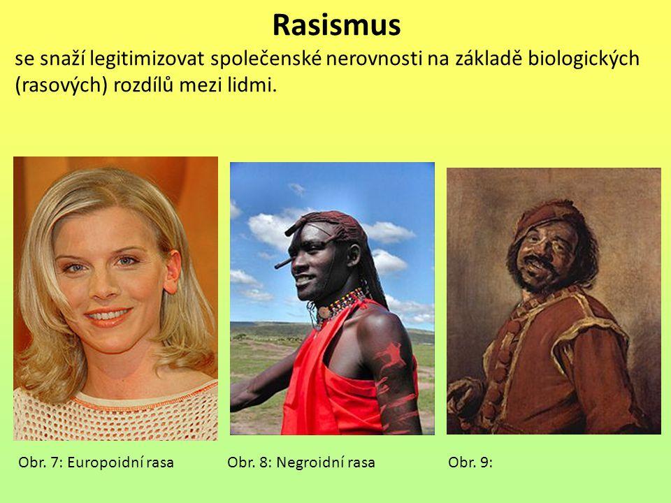 Rasismus se snaží legitimizovat společenské nerovnosti na základě biologických (rasových) rozdílů mezi lidmi. Obr. 7: Europoidní rasa Obr. 8: Negroidn