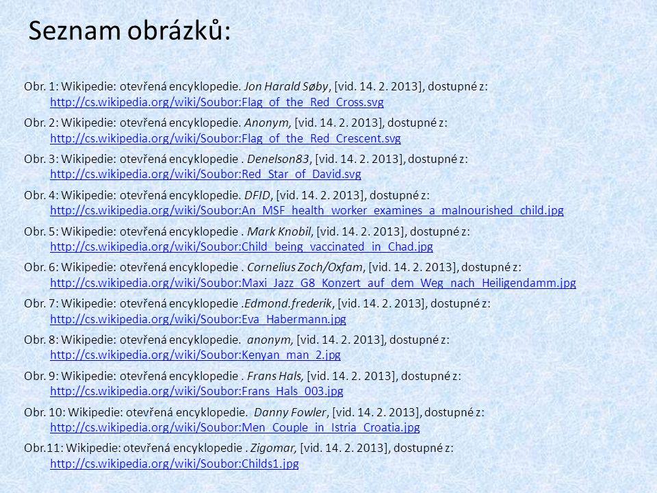 Seznam obrázků: Obr. 1: Wikipedie: otevřená encyklopedie. Jon Harald Søby, [vid. 14. 2. 2013], dostupné z: http://cs.wikipedia.org/wiki/Soubor:Flag_of