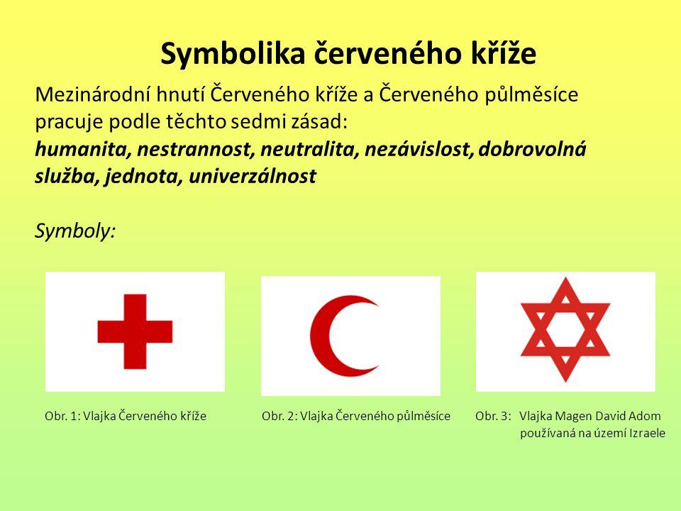 Symbolika červeného kříže Obr. 1: Vlajka Červeného kříže Obr. 2: Vlajka Červeného půlměsíce Obr. 3: Vlajka Magen David Adom používaná na území Izraele