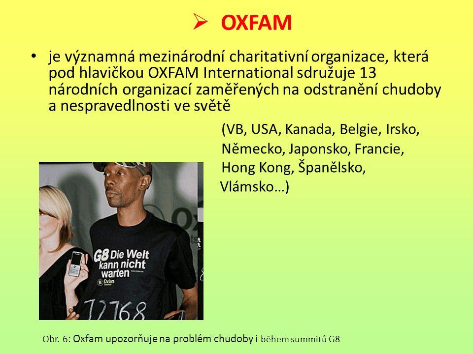  OXFAM je významná mezinárodní charitativní organizace, která pod hlavičkou OXFAM International sdružuje 13 národních organizací zaměřených na odstra