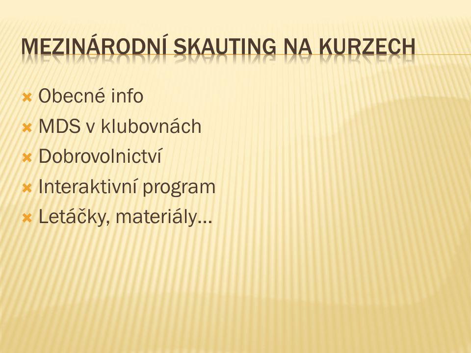  Obecné info  MDS v klubovnách  Dobrovolnictví  Interaktivní program  Letáčky, materiály…