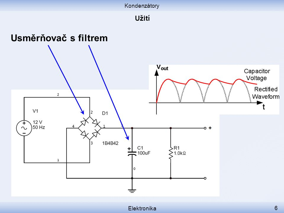 Kondenzátory Elektronika 6 Usměrňovač s filtrem