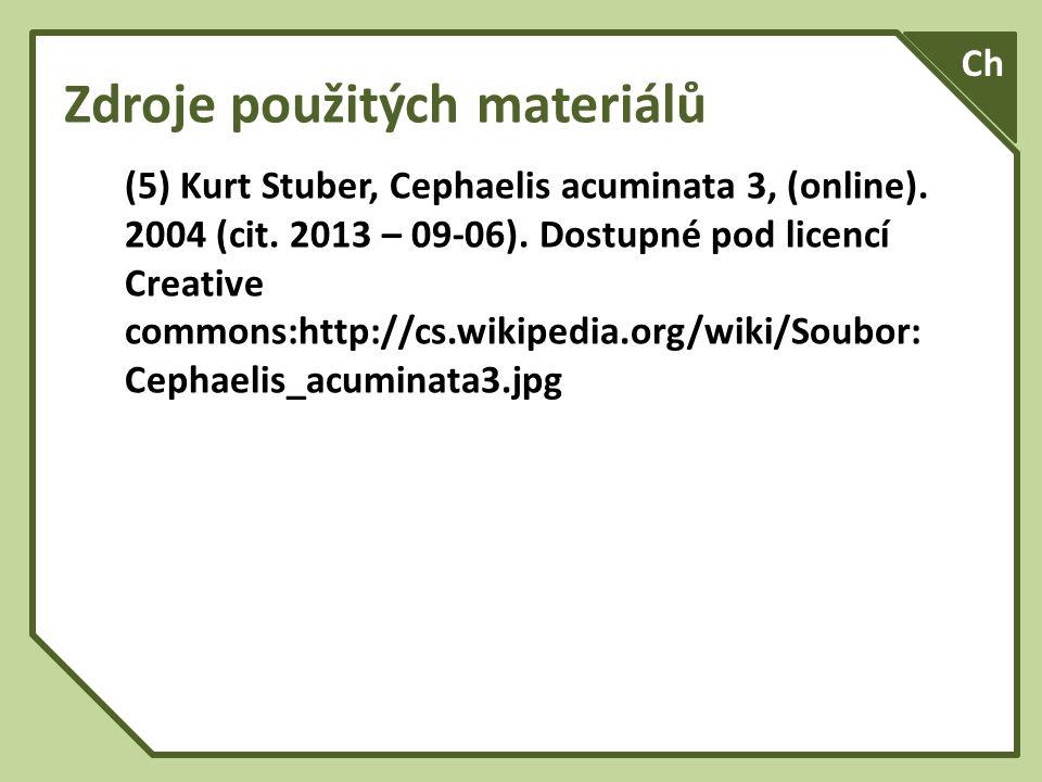 Zdroje použitých materiálů (5) Kurt Stuber, Cephaelis acuminata 3, (online).