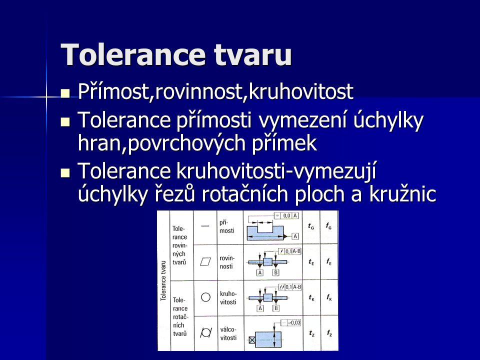 Tolerance tvaru Přímost,rovinnost,kruhovitost Přímost,rovinnost,kruhovitost Tolerance přímosti vymezení úchylky hran,povrchových přímek Tolerance přím