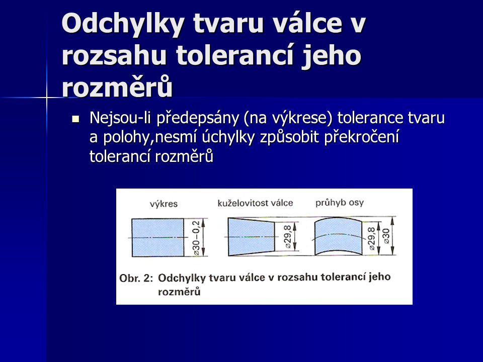 Odchylky tvaru válce v rozsahu tolerancí jeho rozměrů Nejsou-li předepsány (na výkrese) tolerance tvaru a polohy,nesmí úchylky způsobit překročení tol