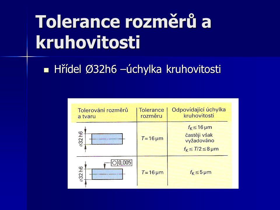 Tolerance rozměrů a kruhovitosti Hřídel Ø32h6 –úchylka kruhovitosti Hřídel Ø32h6 –úchylka kruhovitosti