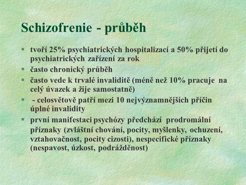 Schizofrenie - průběh §tvoří 25% psychiatrických hospitalizací a 50% přijetí do psychiatrických zařízení za rok §často chronický průběh §často vede k trvalé invaliditě (méně než 10% pracuje na celý úvazek a žije samostatně) § - celosvětově patří mezi 10 nejvýznamnějších příčin úplné invalidity §první manifestaci psychózy předchází prodromální příznaky (zvláštní chování, pocity, myšlenky, ochuzení, vztahovačnost, pocity cizosti), nespecifické příznaky (nespavost, úzkost, podrážděnost)