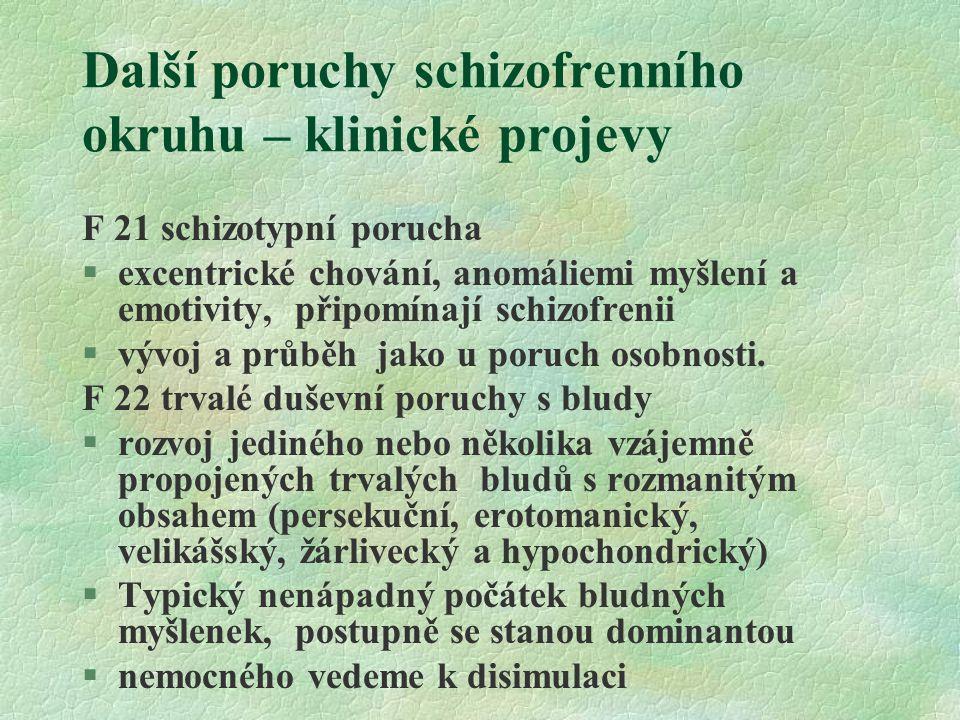Další poruchy schizofrenního okruhu – klinické projevy F 21 schizotypní porucha §excentrické chování, anomáliemi myšlení a emotivity, připomínají schizofrenii §vývoj a průběh jako u poruch osobnosti.