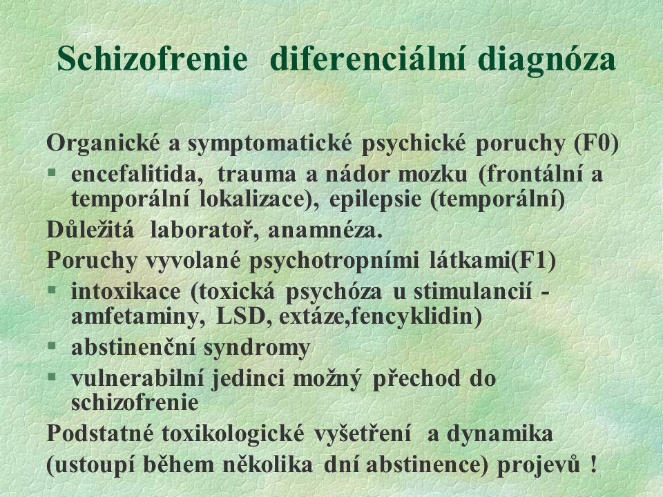 Schizofrenie diferenciální diagnóza Organické a symptomatické psychické poruchy (F0) §encefalitida, trauma a nádor mozku (frontální a temporální lokalizace), epilepsie (temporální) Důležitá laboratoř, anamnéza.