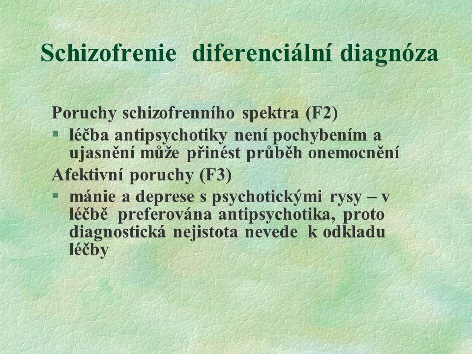 Schizofrenie diferenciální diagnóza Poruchy schizofrenního spektra (F2) §léčba antipsychotiky není pochybením a ujasnění může přinést průběh onemocnění Afektivní poruchy (F3) §mánie a deprese s psychotickými rysy – v léčbě preferována antipsychotika, proto diagnostická nejistota nevede k odkladu léčby