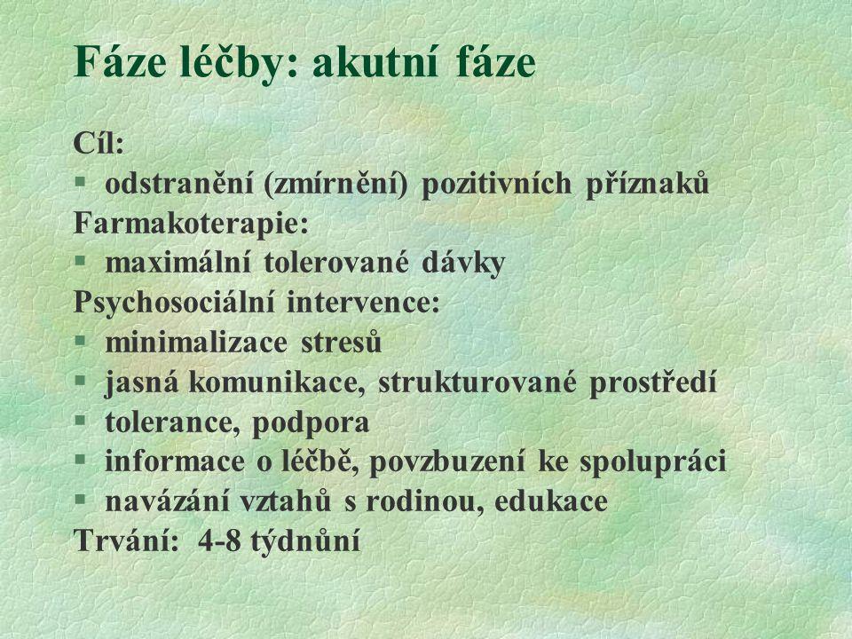 Fáze léčby: akutní fáze Cíl:  odstranění (zmírnění) pozitivních příznaků Farmakoterapie:  maximální tolerované dávky Psychosociální intervence: §min