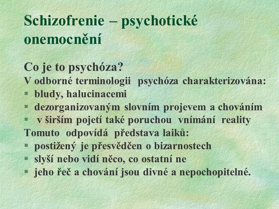 Schizofrenie – psychotické onemocnění Co je to psychóza? V odborné terminologii psychóza charakterizována: §bludy, halucinacemi §dezorganizovaným slov