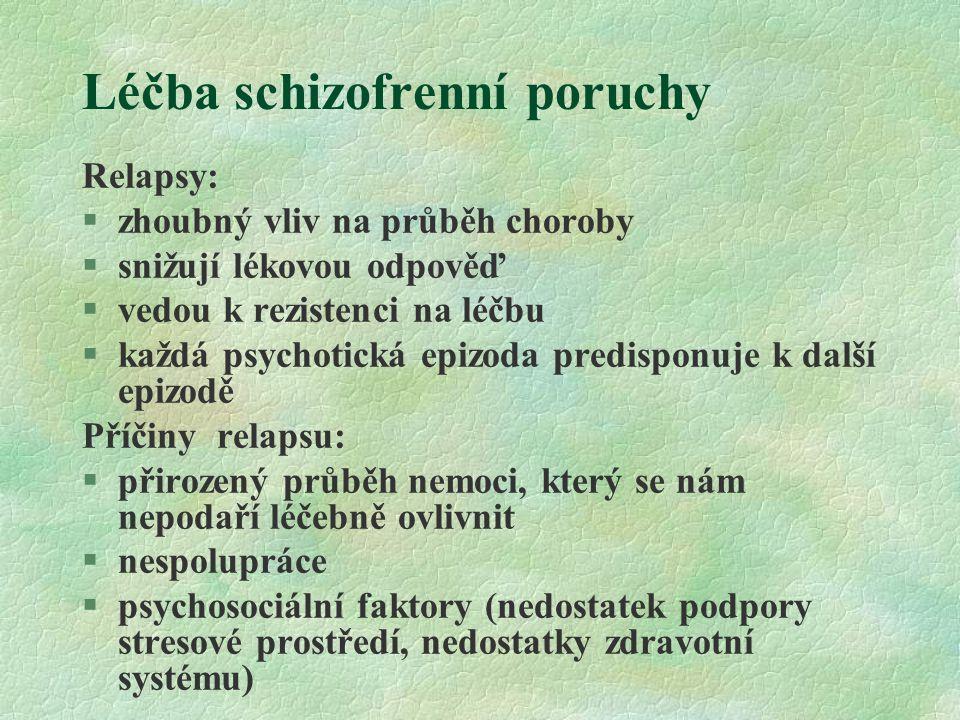 Léčba schizofrenní poruchy Relapsy: §zhoubný vliv na průběh choroby §snižují lékovou odpověď §vedou k rezistenci na léčbu §každá psychotická epizoda predisponuje k další epizodě Příčiny relapsu:  přirozený průběh nemoci, který se nám nepodaří léčebně ovlivnit  nespolupráce  psychosociální faktory (nedostatek podpory stresové prostředí, nedostatky zdravotní systému)