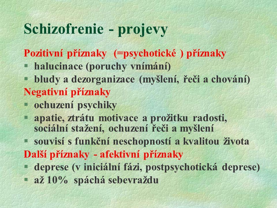 Schizofrenie - projevy Pozitivní příznaky (=psychotické ) příznaky  halucinace (poruchy vnímání)  bludy a dezorganizace (myšlení, řeči a chování) Negativní příznaky §ochuzení psychiky §apatie, ztrátu motivace a prožitku radosti, sociální stažení, ochuzení řeči a myšlení §souvisí s funkční neschopností a kvalitou života Další příznaky - afektivní příznaky §deprese (v iniciální fázi, postpsychotická deprese) §až 10% spáchá sebevraždu