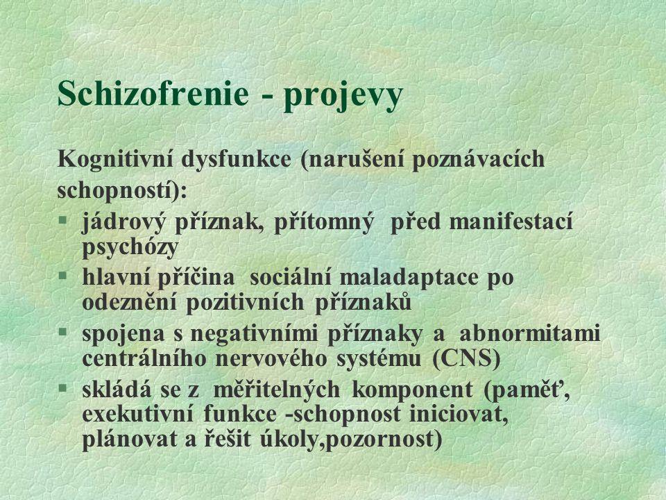 Schizofrenie - projevy Kognitivní dysfunkce (narušení poznávacích schopností): §jádrový příznak, přítomný před manifestací psychózy §hlavní příčina sociální maladaptace po odeznění pozitivních příznaků §spojena s negativními příznaky a abnormitami centrálního nervového systému (CNS) §skládá se z měřitelných komponent (paměť, exekutivní funkce -schopnost iniciovat, plánovat a řešit úkoly,pozornost)