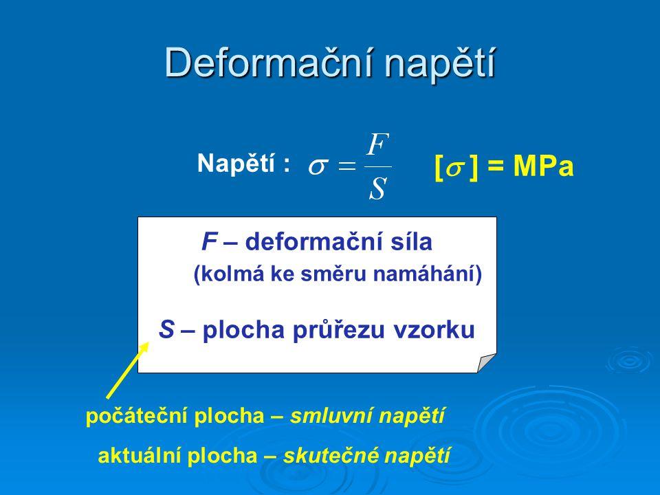 Deformace Relativní deformace  r :  l – prodloužení vzorku l 0 – počáteční délka vzorku Skutečná deformace  : - při deformaci jednoosým tahem Deformace do lomu  f : Deformace do lomu  f : při dosažení deformace  f dochází k lomu (porušení) vzorku.