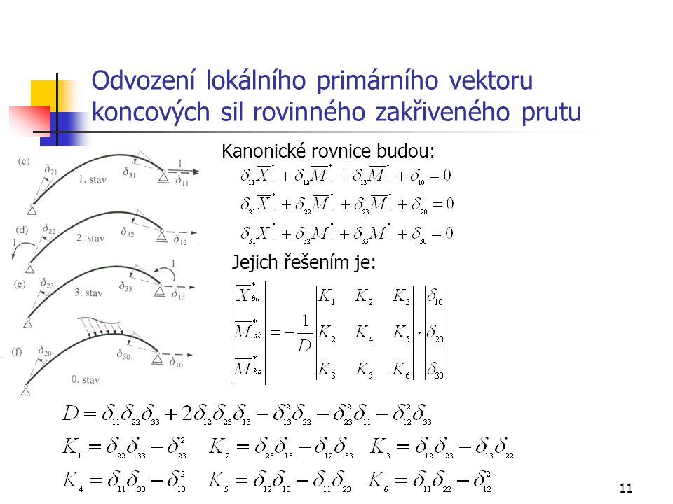 11 Odvození lokálního primárního vektoru koncových sil rovinného zakřiveného prutu Kanonické rovnice budou: Jejich řešením je: