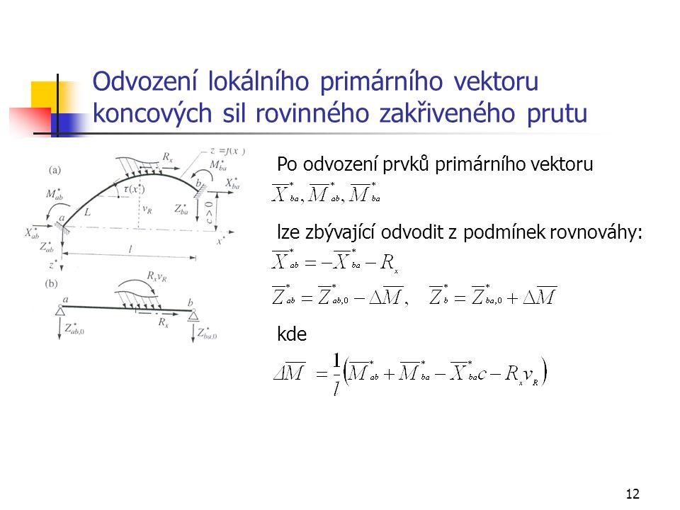 12 Odvození lokálního primárního vektoru koncových sil rovinného zakřiveného prutu Po odvození prvků primárního vektoru lze zbývající odvodit z podmín