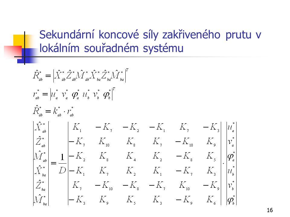 16 Sekundární koncové síly zakřiveného prutu v lokálním souřadném systému