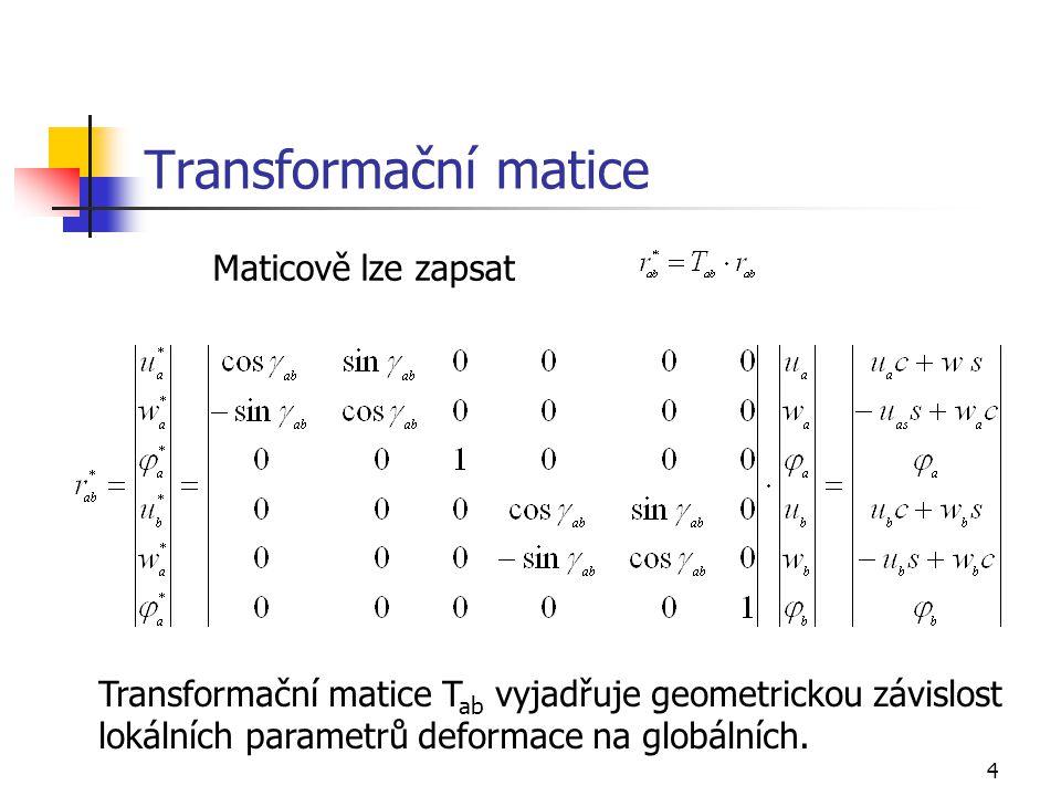 4 Transformační matice Maticově lze zapsat Transformační matice T ab vyjadřuje geometrickou závislost lokálních parametrů deformace na globálních.