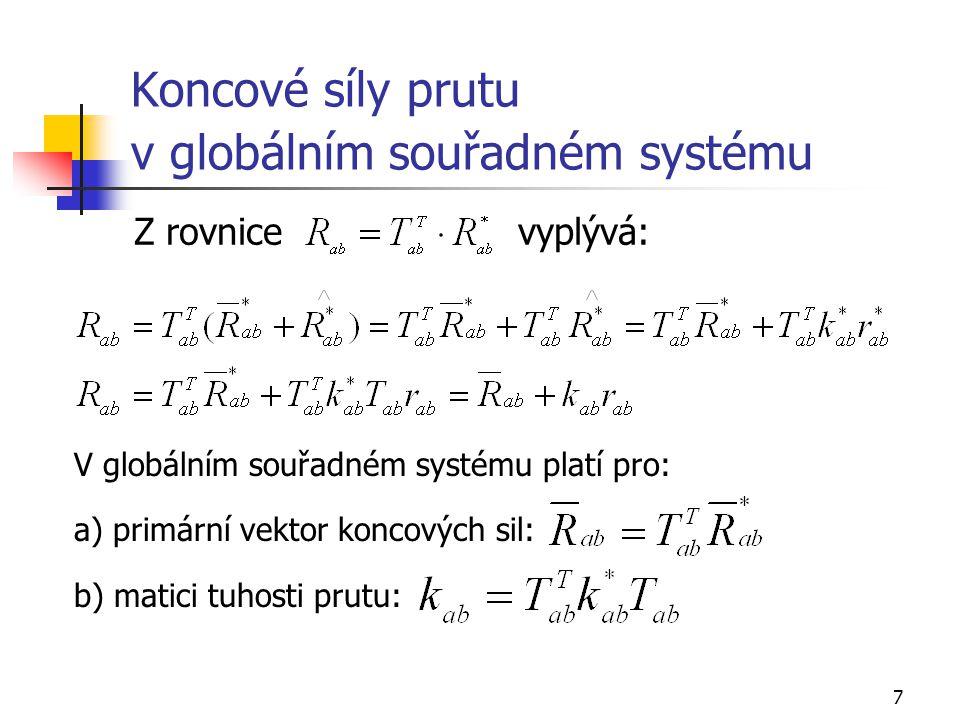 7 Koncové síly prutu v globálním souřadném systému Z rovnice vyplývá: V globálním souřadném systému platí pro: a) primární vektor koncových sil: b) ma