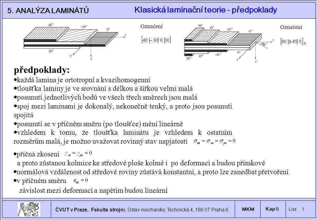 1 ČVUT v Praze, Fakulta strojní, Ústav mechaniky, Technická 4, 166 07 Praha 6 MKM List 1 Kap 5 5.