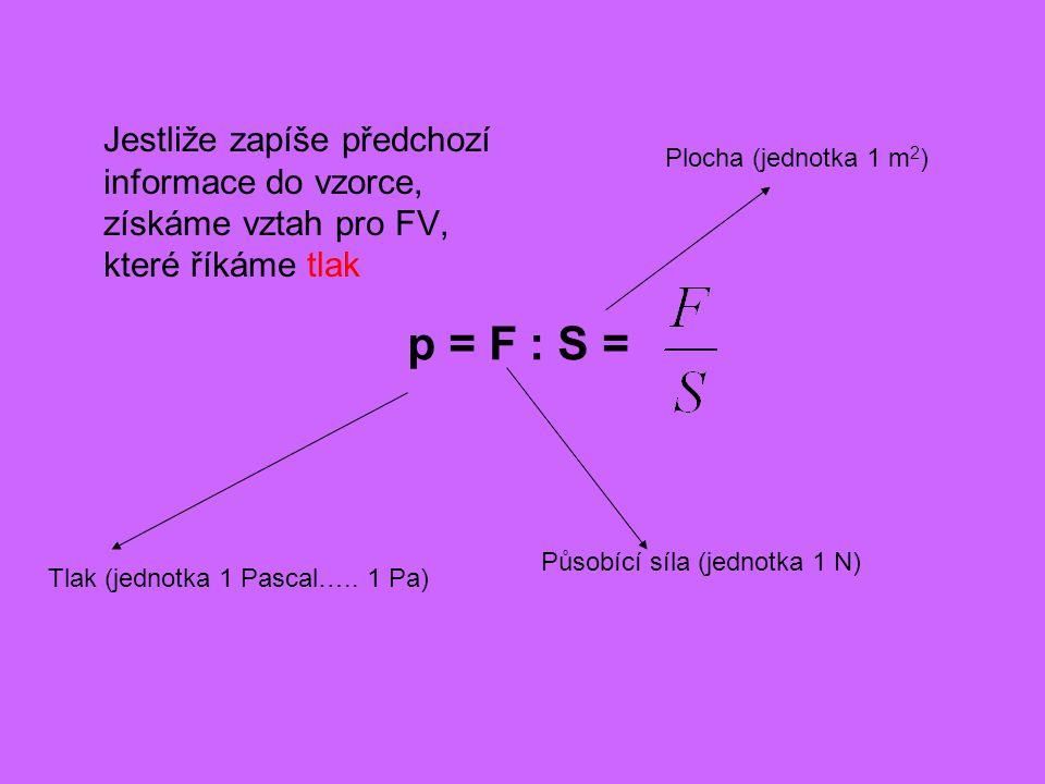 Jestliže zapíše předchozí informace do vzorce, získáme vztah pro FV, které říkáme tlak Tlak (jednotka 1 Pascal…..