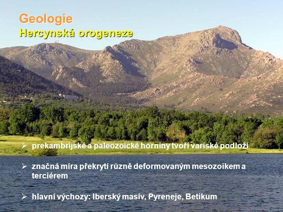 Alpinská orogeneze Geologie  mesozoické a kenozoické horniny tvoří pokryv v různém stupni deformace alpinským vrásněním od intenzivní deformace (např.