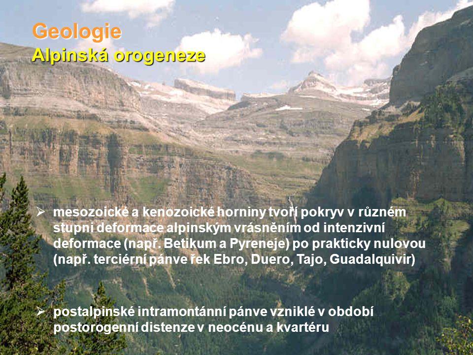 Alpinská orogeneze Geologie  mesozoické a kenozoické horniny tvoří pokryv v různém stupni deformace alpinským vrásněním od intenzivní deformace (např