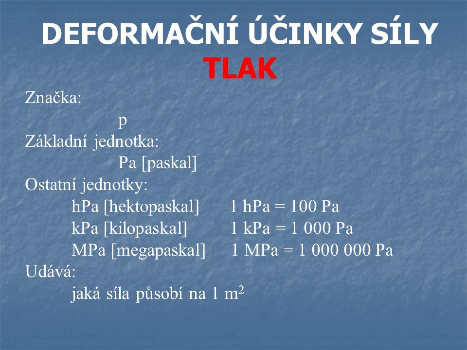 DEFORMAČNÍ ÚČINKY SÍLY TLAK Značka: p Základní jednotka: Pa [paskal] Ostatní jednotky: hPa [hektopaskal] 1 hPa = 100 Pa kPa [kilopaskal] 1 kPa = 1 000