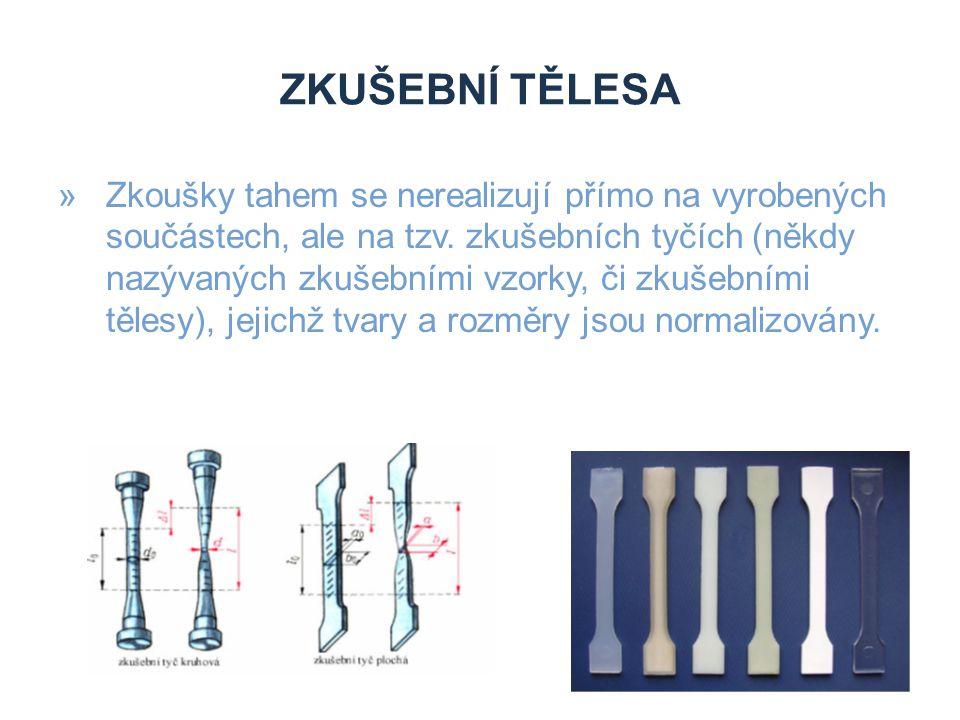 ZKUŠEBNÍ TĚLESA »Zkoušky tahem se nerealizují přímo na vyrobených součástech, ale na tzv. zkušebních tyčích (někdy nazývaných zkušebními vzorky, či zk