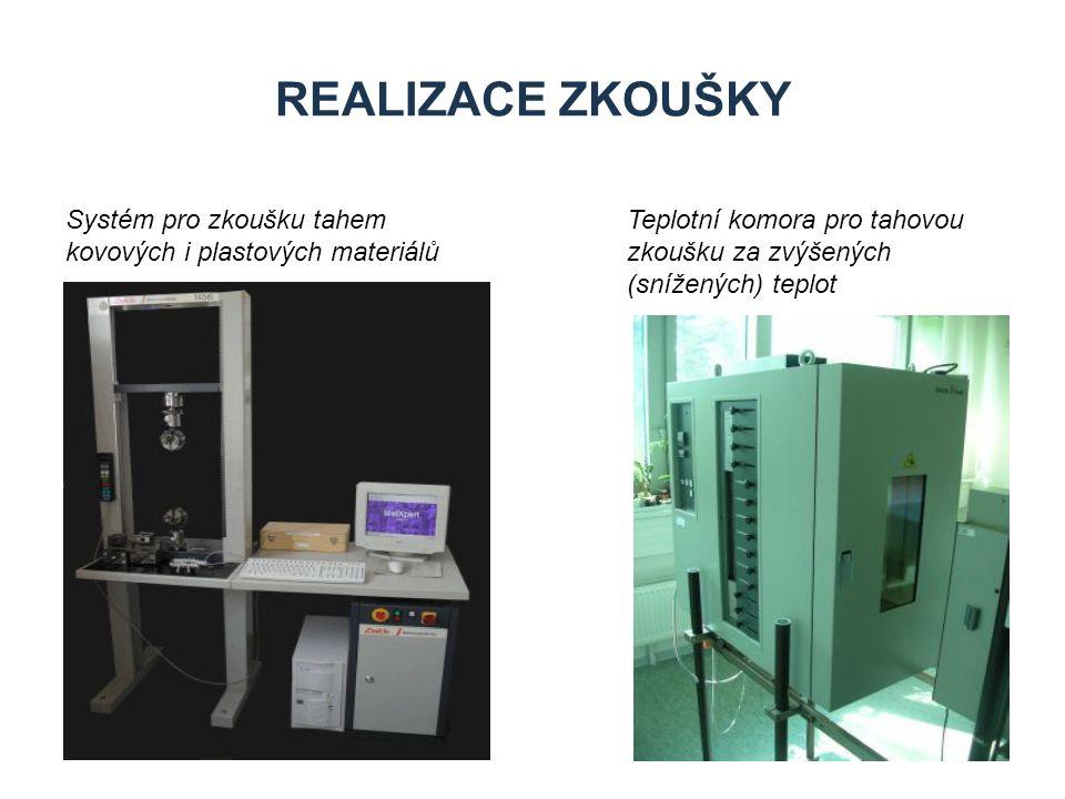 REALIZACE ZKOUŠKY Teplotní komora pro tahovou zkoušku za zvýšených (snížených) teplot Systém pro zkoušku tahem kovových i plastových materiálů