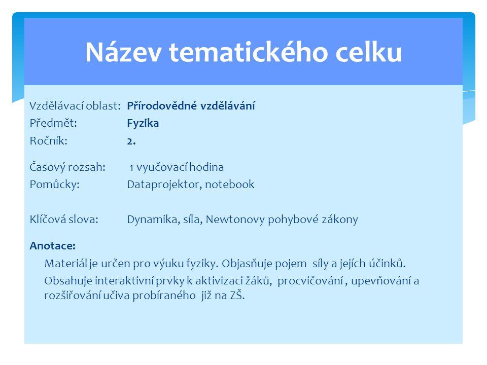 Vzdělávací oblast:Přírodovědné vzdělávání Předmět:Fyzika Ročník:2.