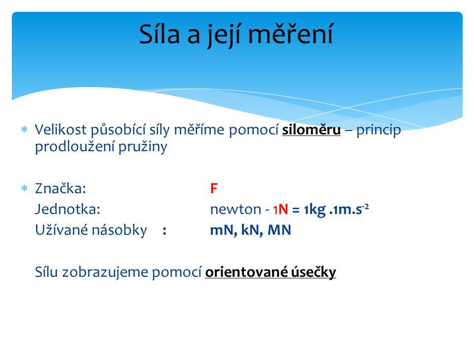  Velikost působící síly měříme pomocí siloměru – princip prodloužení pružiny  Značka:F Jednotka:newton - 1N = 1kg.1m.s -2 Užívané násobky:mN, kN, MN Sílu zobrazujeme pomocí orientované úsečky Síla a její měření