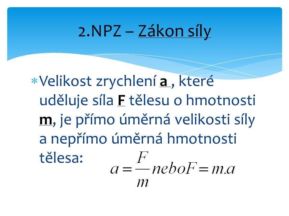  Velikost zrychlení a, které uděluje síla F tělesu o hmotnosti m, je přímo úměrná velikosti síly a nepřímo úměrná hmotnosti tělesa: 2.NPZ – Zákon síly